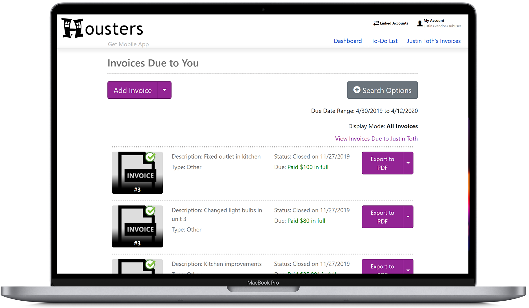 View invoices due to you for work performed for client landlords and property managers on the contractor portal