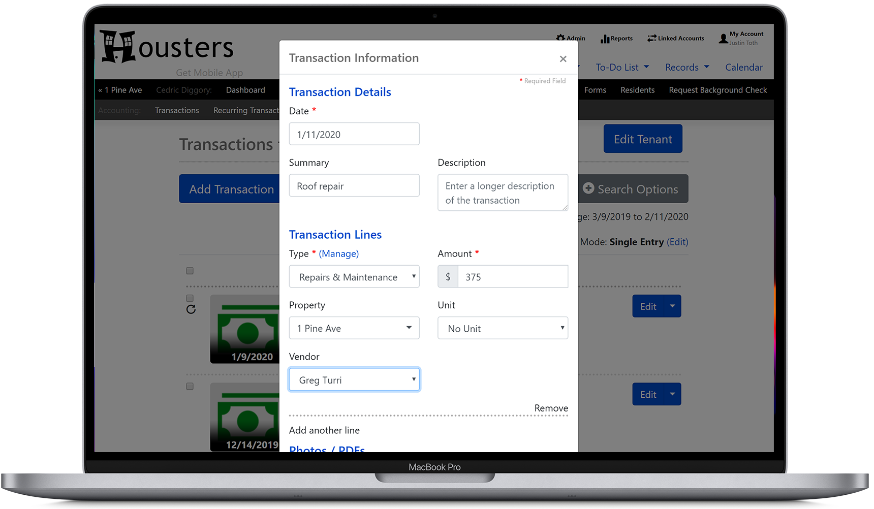 Add a rental expense transaction