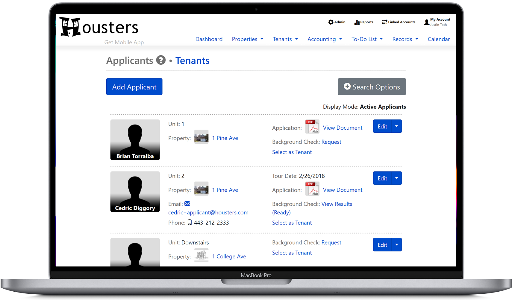 View a list of applicants on our landlord software