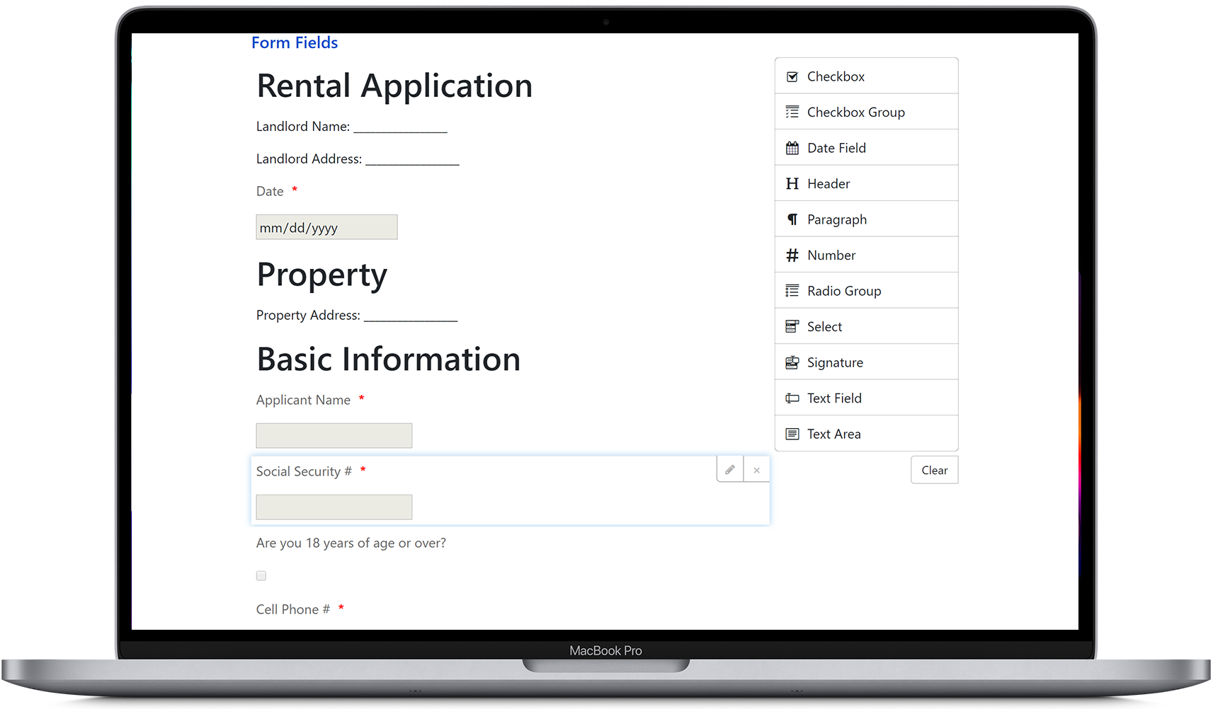 Create a custom online application form, using our landlord software
