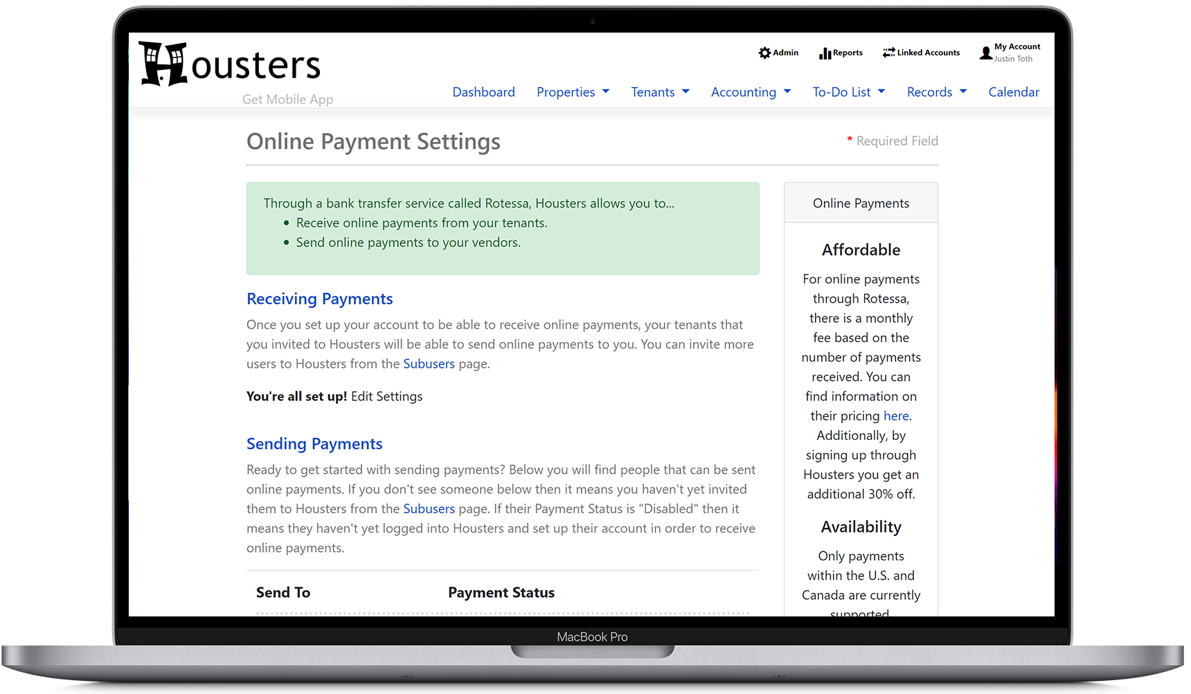 Add a bank account where online payments will be sent to, from our landlord software