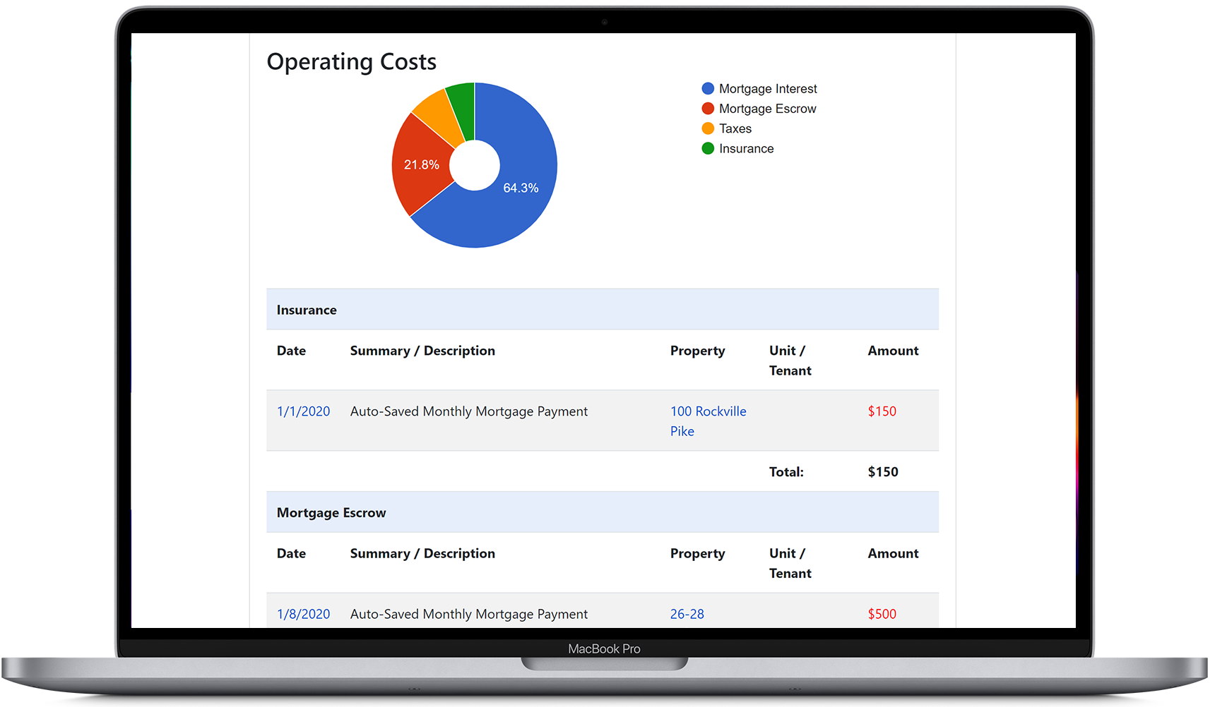 View the operating costs report in our landlord software, showing rental expenses