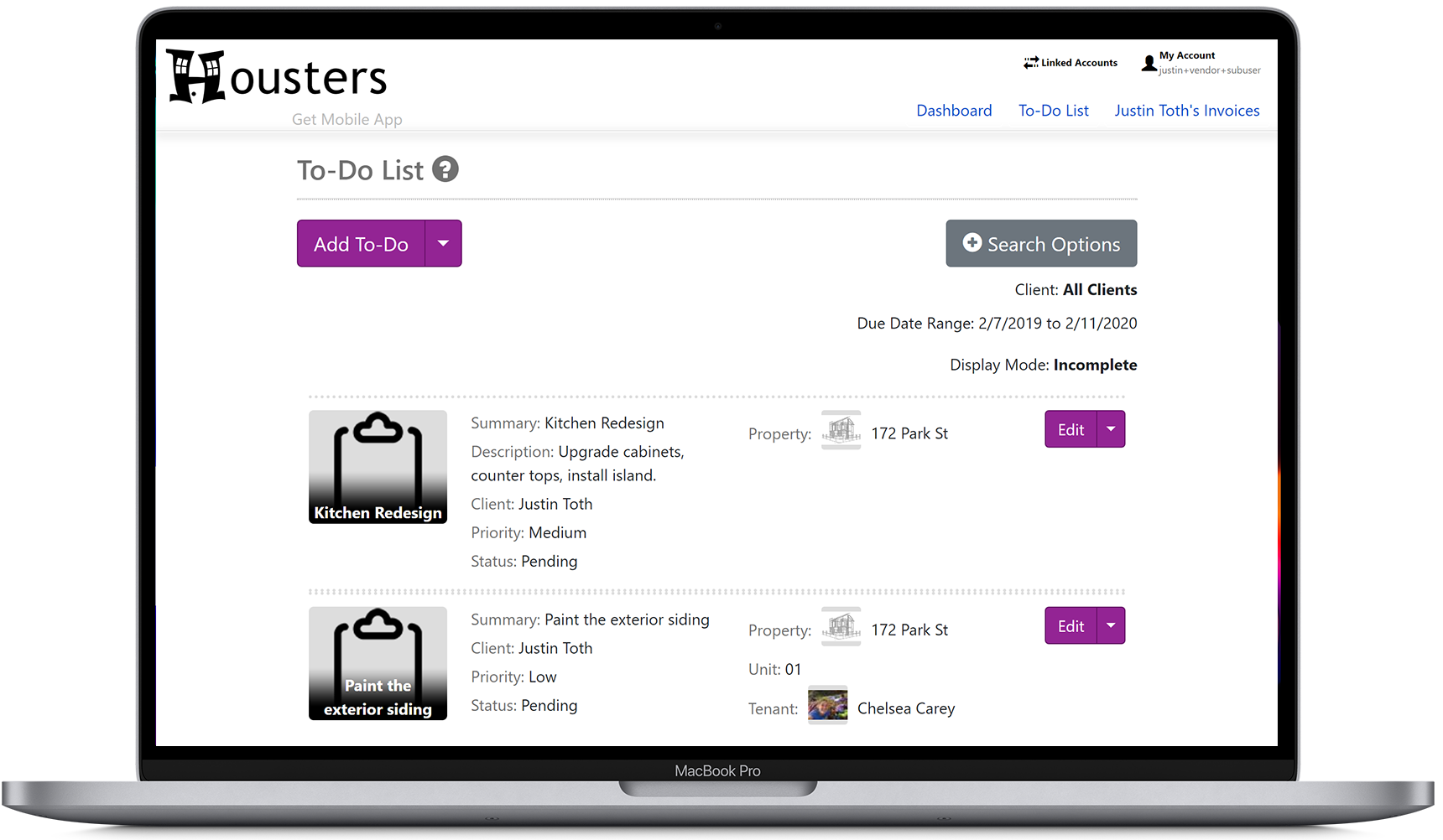 Contractors can view to-do list tasks shared with them by their landlord and property manager clients