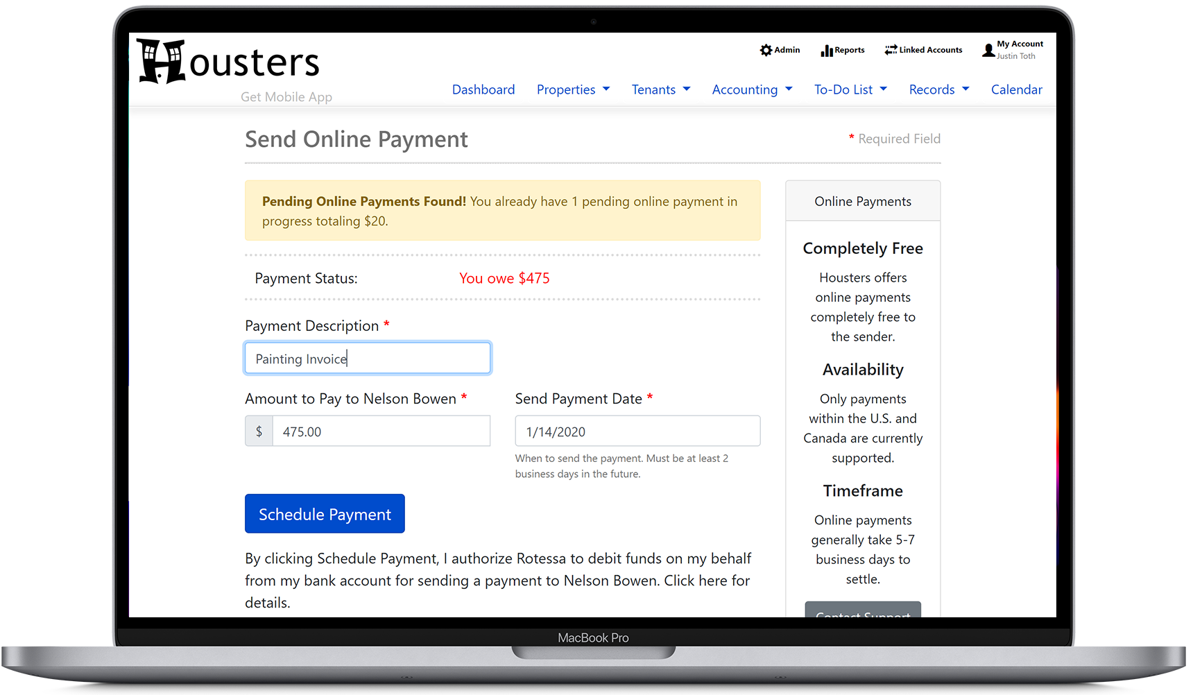 Landlords and property managers can send online payments to contractors from Housters' landlord software