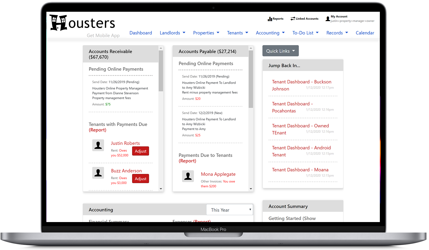 View the main property manager software dashboard, accounts receivable, and accounts payable