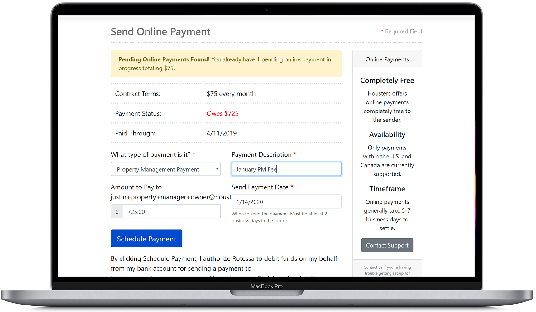 Send an online payment from a landlord to a property manager