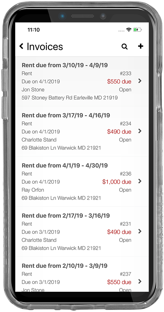 iPhone screenshot of a tenant's rent invoice list screen