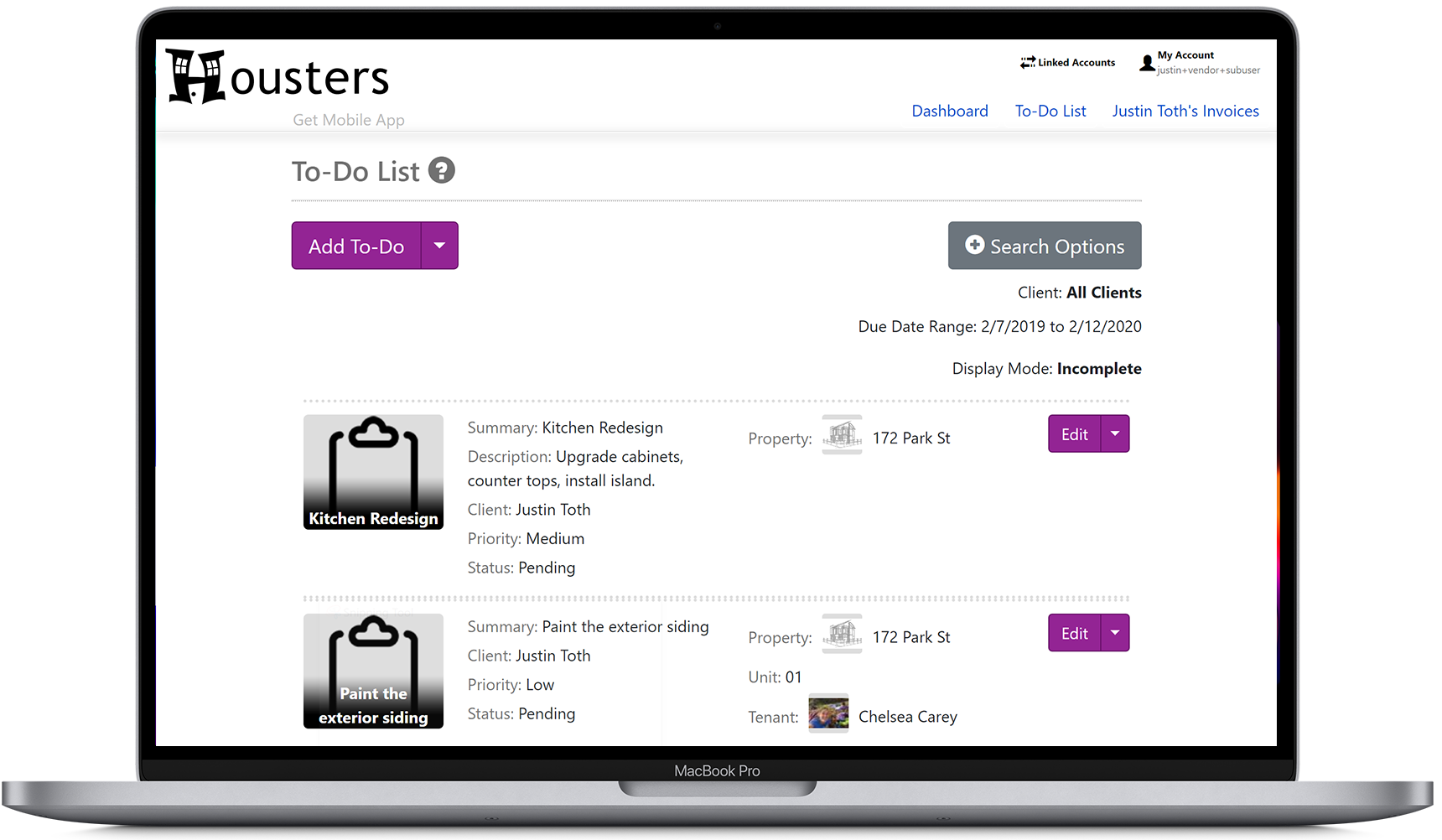 View the to-do list that is shared between you and your landlord and property manager clients on the contractor portal